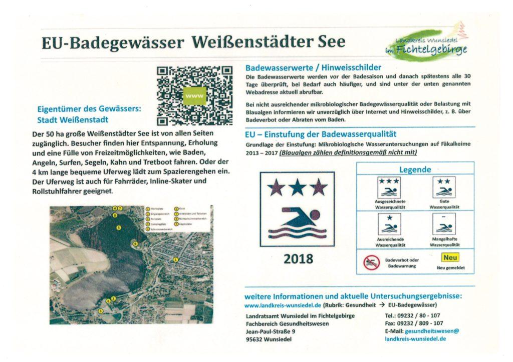 """Auch im Jahr 2018 wurde die Badequalität unseres Weißenstädter Sees wieder mit """"ausgezeichnet"""" bewertet!"""