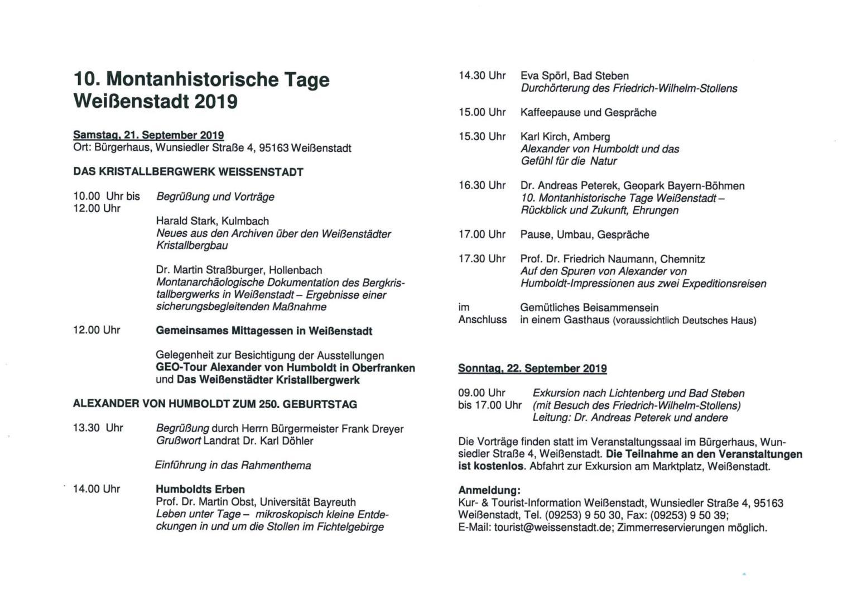 10. Montanhistorische Tage Weißenstadt 2019